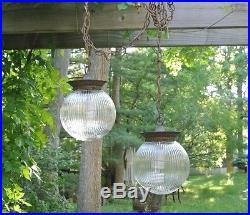 Vintage Mid Century Ceiling Clear Glass Hanging Swag Pendant Lamps