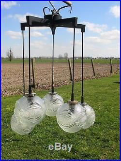 Vintage Mid Century Chrome Sputnik Chandelier lamp 5 Glass balls Lights