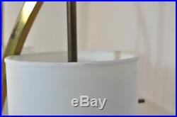Vintage Mid Century Danish Modern 3 Way Marble Teak Brass Glass Shade Table Lamp