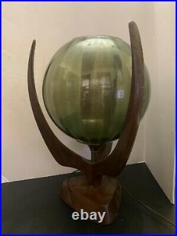 Vintage Mid Century Danish Modern Glass Sphere Orb and Teak Wood Table Lamp