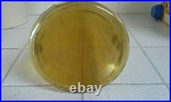 Vintage Mid Century Empoli Italian Ribbed Amber Glass Genie Bottle Decanter