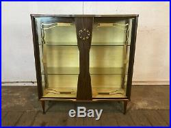 Vintage Mid Century Glass Drinks Display Cabinet with Dansette Legs Cocktail