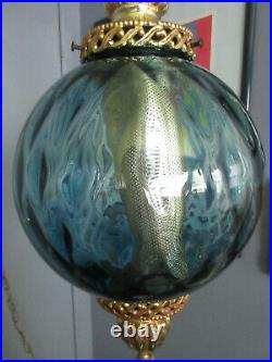 Vintage Mid Century Glass Swag Lamp Blue Quilted Optic Glass Sphere
