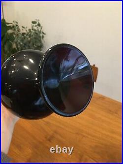 Vintage Mid Century Glass Vase Pedestal Purple Swung Glass 22.5 Tall