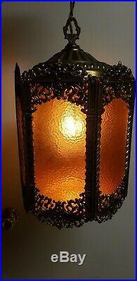 Vintage Mid Century Gothic Spanish/Tudor Swag Hollywood Regency Lamp Glass Brass