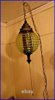 Vintage Mid Century Green Glass Chain Hanging Swag Lamp Light Works