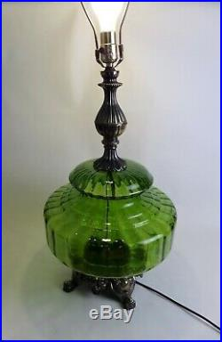 Vintage Mid Century Green Glass Table Lamp Hollywood Regency Large 1972 EF & EF