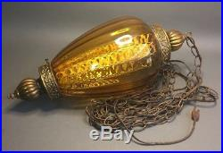 Vintage Mid Century Hanging Light plug-Inglass Swag Lamp Large With Switch