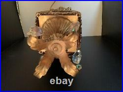 Vintage Mid Century Hollywood Regency GIM Brass and Amber Glass Table Lamp