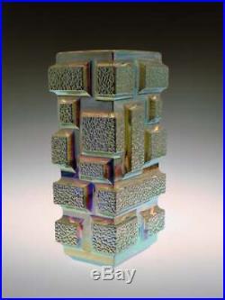 Vintage Mid Century Iridescent Glass Vase Zejmon Rudolfova Hut Tetris Sklo Czech