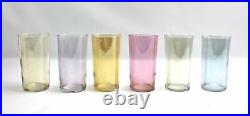 Vintage Mid Century Iridescent Pitcher & Pastel Colored Glass Drinking Cups