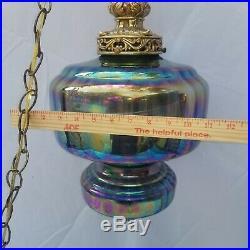 Vintage Mid Century Iridesent Blue Art Glass Swag Light Fixture Hanging Retro