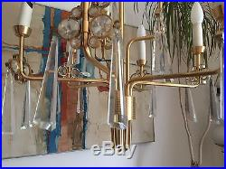 Vintage Mid Century Italian Modernist Gilt Metal Crystal Glass Chandelier