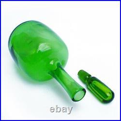 Vintage Mid Century Joel Myers for Blenko Green Glass Decanter