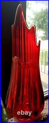 Vintage Mid Century LE Smith Simplicity Red Stretched Swung Glass 18 Floor Vase