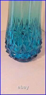 Vintage Mid Century L. E. Smith Peacock Blue Swung Slung Slag Glass Vase #5160