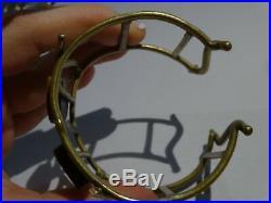 Vintage Mid Century MODERNIST Brass Glass Set BRUTALIST Cuff BRACELET