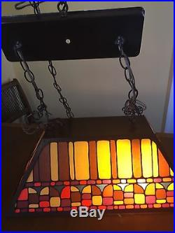 Vintage Mid Century Mod Glass Metal Billiard Pool Ceiling Light Retro Cool