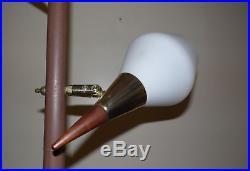 Vintage Mid Century Modern 3 Way Light Tension Pole Floor Lamp Glass Shades