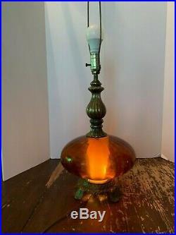 Vintage Mid Century Modern Amber Glass Night Light Base Table Lamp
