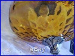 Vintage Mid Century Modern Amber Glass UFO Swag Hanging Lamp Light