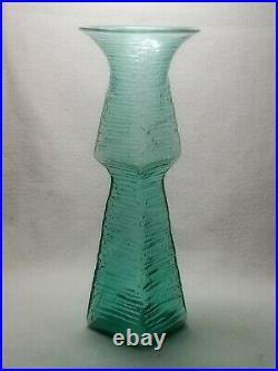Vintage Mid Century Modern Blenko Green Art Glass Vase Wayne Husted Blown 12.75