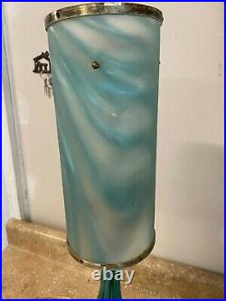 Vintage Mid Century Modern Blue Turquoise Glass Lamp w Iridescent Shade WORKS