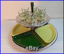 Vintage Mid Century Modern Cocktail Bar Shot Glass Serving Tray ATOMIC Art Deco