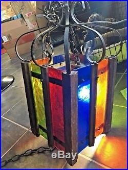 Vintage Mid Century Modern Color Stain Glass Iron Gothic Hanging Swag Lamp RARE