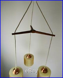 Vintage Mid-Century Modern Danish Teak Glass Pendant Ceiling Lamp 1960s 70s
