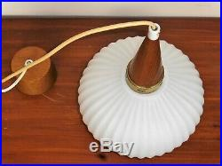 Vintage Mid Century Modern Design Opal Glass Teak Pendant Lamp by Louis Kalff