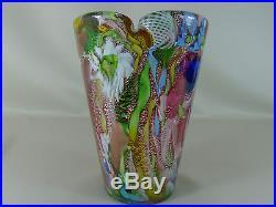 Vintage Mid Century Modern Dino Martens AVEM Zanfirico Red Murano Art Glass Vase