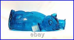Vintage Mid Century Modern Empoli Aqua Teal Blue Glass Cat Bottle Decanter 14