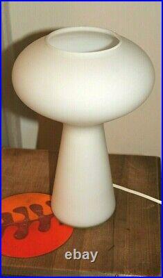 Vintage Mid Century Modern Gilbert Mushroom Frosted Glass Lamp