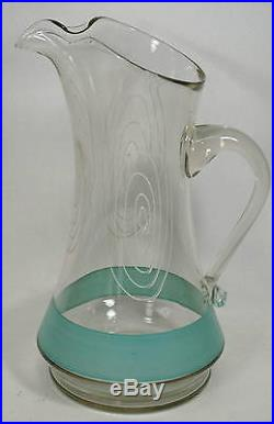 Vintage Mid Century Modern Glass Pitcher & 8 Matching Tumblers Set