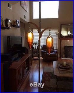 Vintage Mid Century Modern Gold Glass Tension Pole Floor Lamp Teak Danish Wood