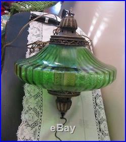 Vintage Mid-Century Modern Green Glass UFO Hanging Swag Lamp / Light 60s RETRO