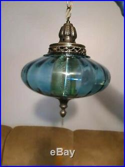 Vintage Mid Century Modern Large Blue Glass Globe Hanging Light Swag Lamp
