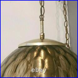 Vintage Mid Century Modern Large Smoked Glass Globe Hanging Swag Light Chain