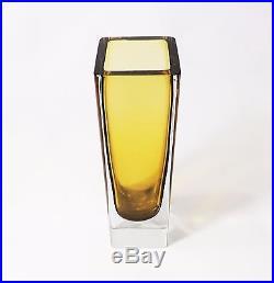 Vintage Mid Century Modern Murano Amber Handblown Glass Sommerso Vase