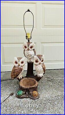 Vintage Mid Century Modern Owl Trio Large Woodland Plaster Lamp Ashtray