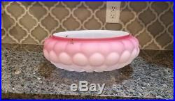 Vintage Mid Century Modern Pink Glass Ceiling Light Fixture Cover Bubbled Dome