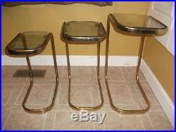 Vintage Mid Century Modern Set 3 Nesting Tables Brass Glass Milo Baughman 70s