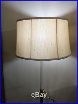 Vintage Mid Century Modern Stiffel Brass Tone Floor Lamp with Glass Side Table