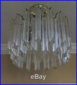 Vintage Mid Century Modern VENINI ITALIAN MURANO Glass Quatro Prism Chandelier
