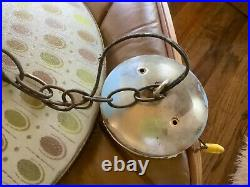 Vintage Mid Century Modern retro mcm hanging Light Fixture with glass shade