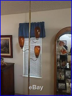Vintage Mid-Century Orange Amber Glass Globe Pole Lamp LOOK