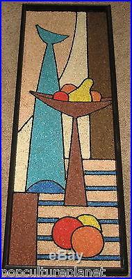 Vintage Mid-Century Retro Modern Gravel Pebble Art Martini Glass Fruit Abstract