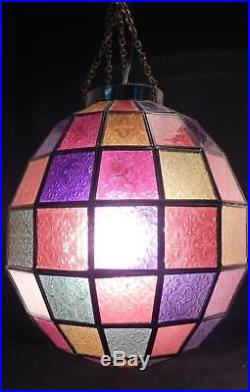 Vintage Mid Century Stained Glass Hanging Ceiling Chandelier LampLightWorking