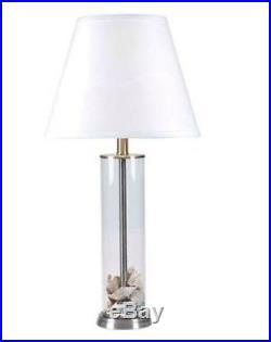 Vintage Mid Century Transparent Glass Table Lamp Buffet Light Modern Set 2-Pack